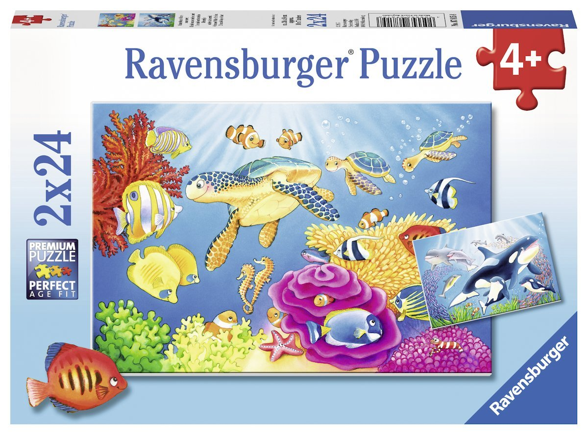 2 puzzles monde sous marin color ravensburger 07815 24 pi ces puzzles animaux marins. Black Bedroom Furniture Sets. Home Design Ideas