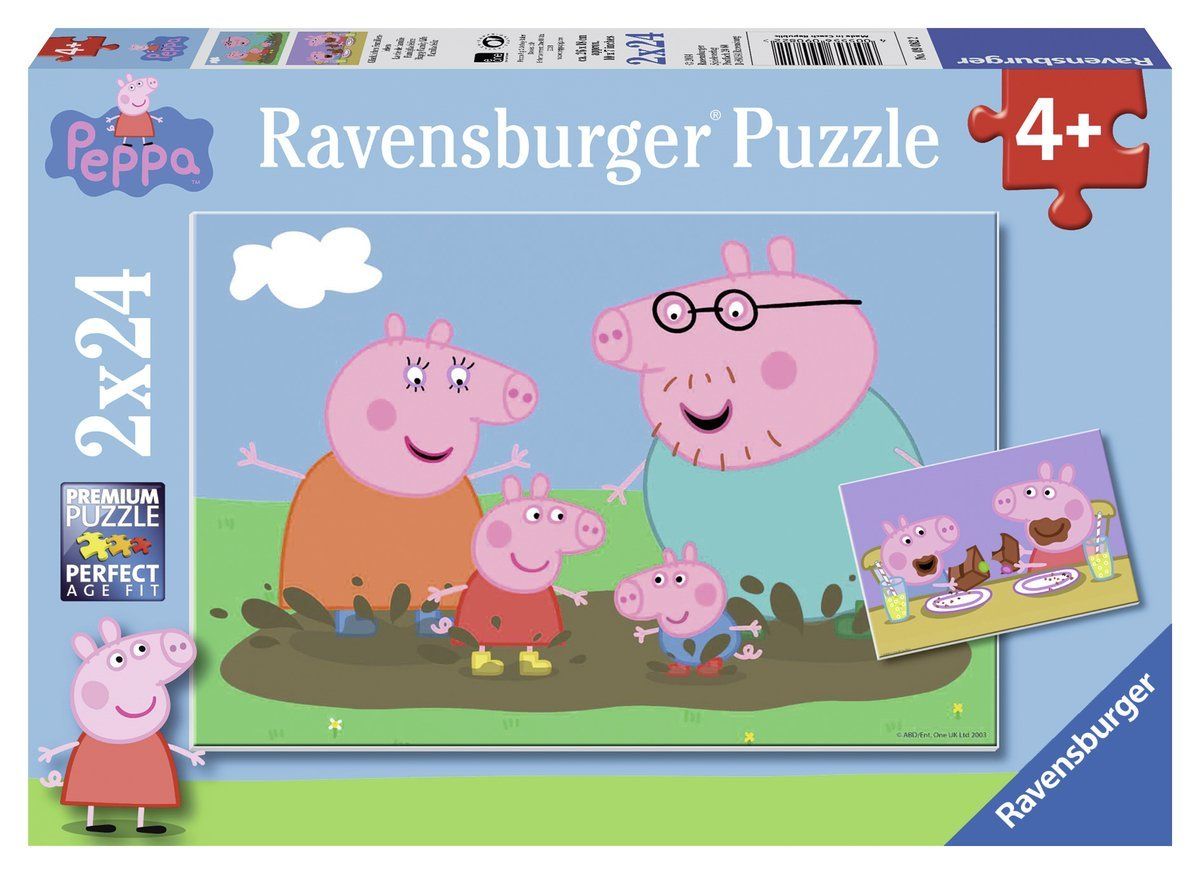 2 puzzles peppa pig ravensburger 09082 24 pi ces puzzles animaux en bd et dessins planet. Black Bedroom Furniture Sets. Home Design Ideas