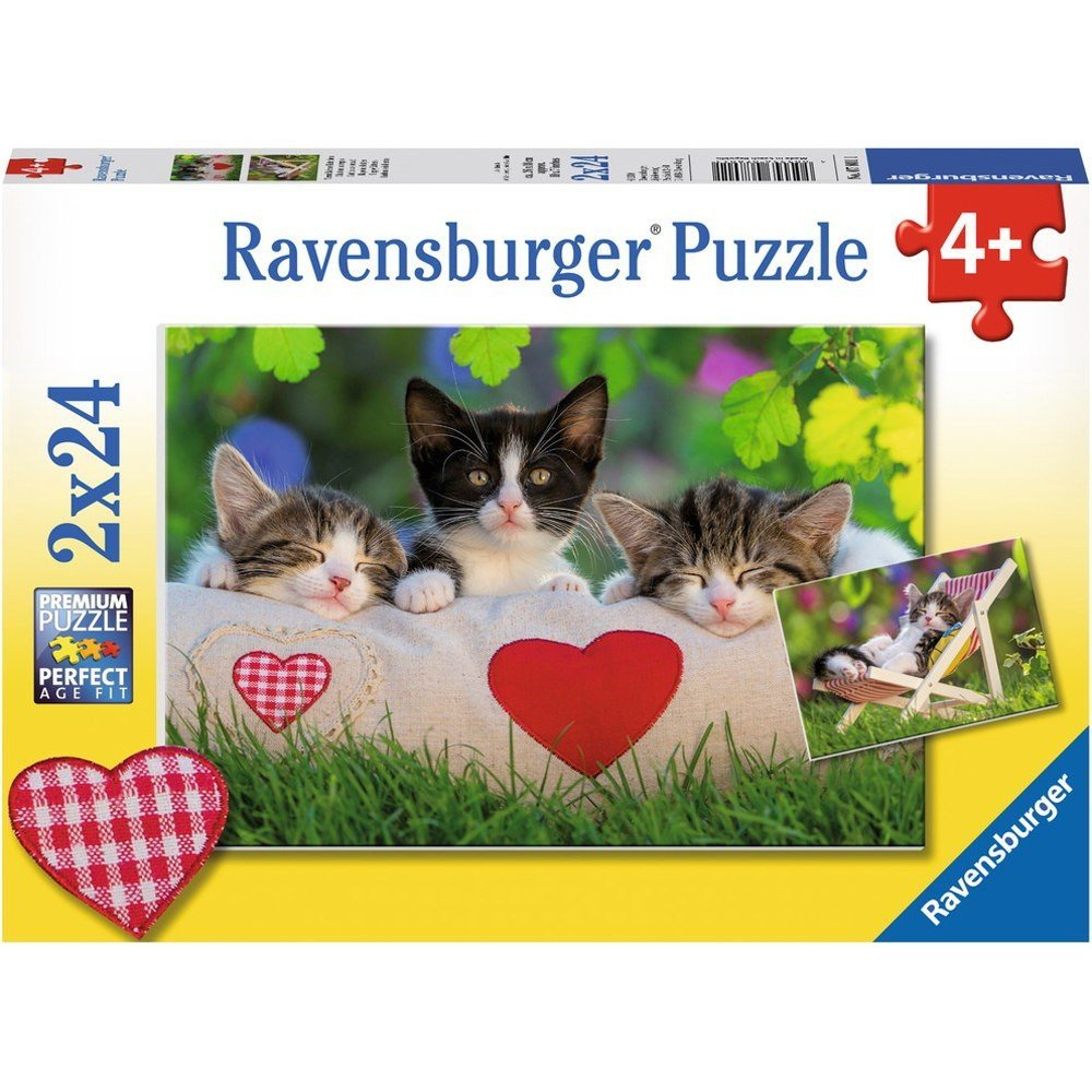 2 puzzles sieste des chatons ravensburger 07801 24 pi ces puzzles chats planet 39 puzzles. Black Bedroom Furniture Sets. Home Design Ideas