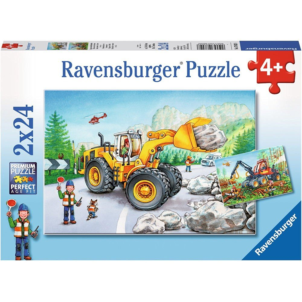 2 puzzles tractopelle et tracteur forestier ravensburger 07802 24 pi ces puzzles v hicules. Black Bedroom Furniture Sets. Home Design Ideas
