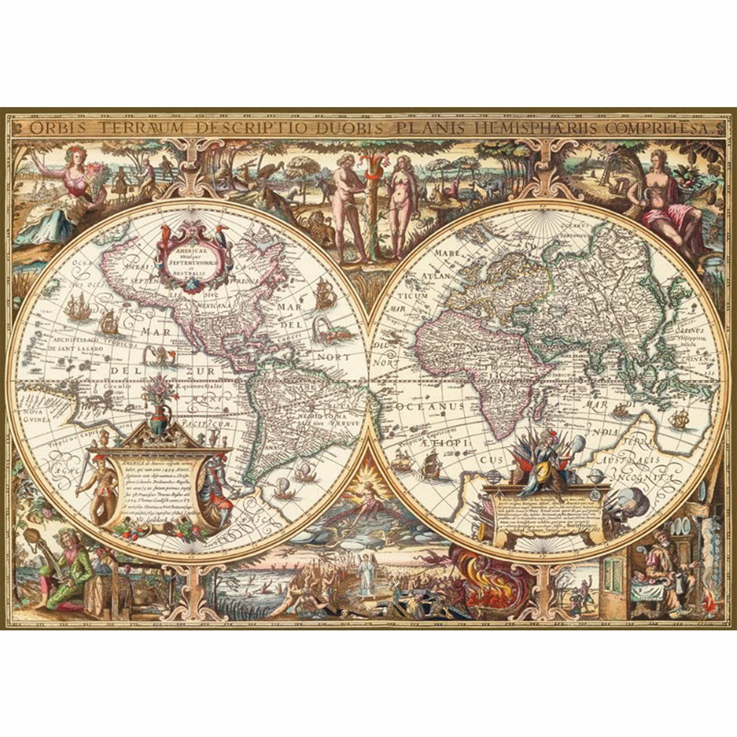 puzzle carte du monde ancienne ravensburger 19004 1000. Black Bedroom Furniture Sets. Home Design Ideas