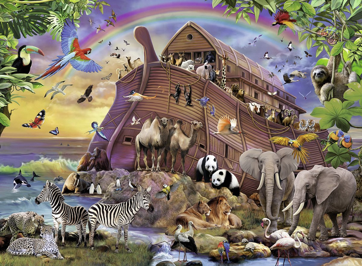 puzzle pi ces xxl arche de no ravensburger 10038 150 pi ces puzzles animaux de la ferme. Black Bedroom Furniture Sets. Home Design Ideas