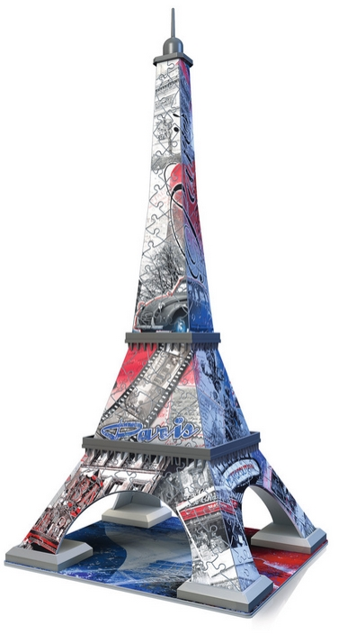 puzzle 3d tour eiffel flag edition ravensburger 12580 216 pi ces puzzles villes et villages. Black Bedroom Furniture Sets. Home Design Ideas