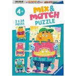 Ravensburger-05135 Mix and Match Puzzles - Monsters