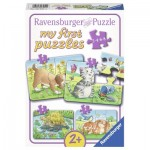 Ravensburger-06951 4 Puzzles - Animaux