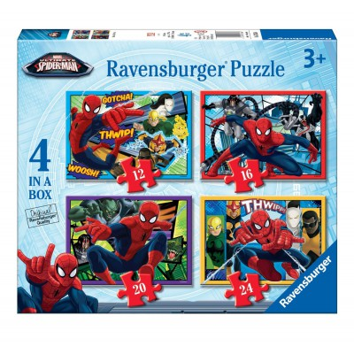 Ravensburger-07363 4 Puzzles - Spiderman