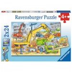 Ravensburger-07800 2 Puzzles - Construction