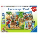 Ravensburger-08030 3 Puzzles - Pirates