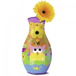 Ravensburger-12050 Puzzle 3D - Vase Girly Girl : Hiboux