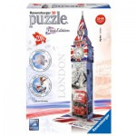Ravensburger-12582 Puzzle 3D - Big Ben Flag Edition