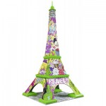 Ravensburger-12598 Puzzle 3D - Tour Eiffel Pop Art