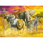 Puzzle  Ravensburger-14724 Animaux Sauvages Africains