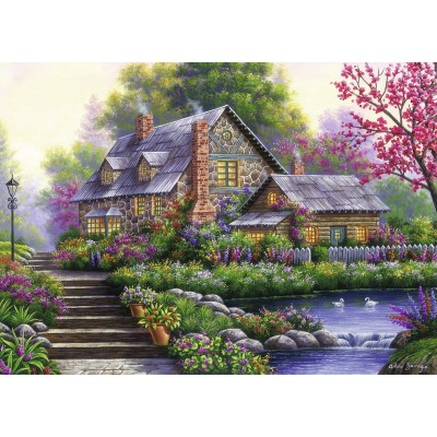 Puzzle Ravensburger-15184 Cottage Romantique