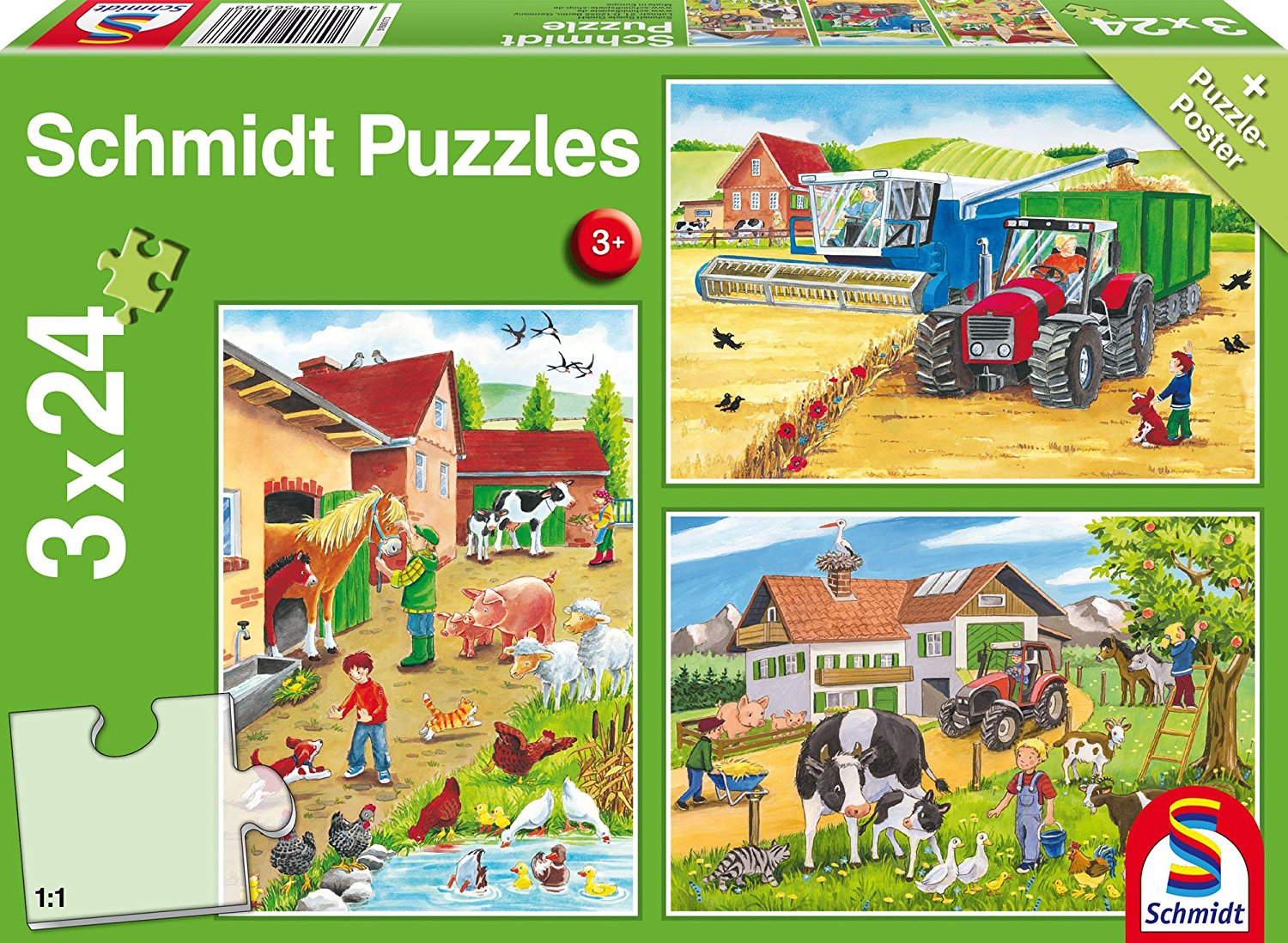 3 puzzles a la ferme schmidt spiele 56216 24 pi ces puzzles animaux de la ferme planet 39 puzzles. Black Bedroom Furniture Sets. Home Design Ideas