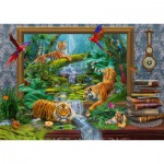 Puzzle  Schmidt-Spiele-59337 Jan Patrik Krasny, Coming to Life, Tigre dans la Jungle