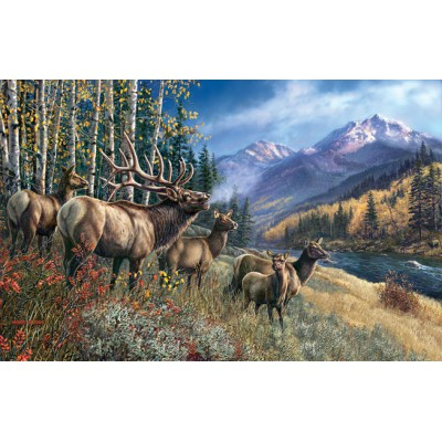 Puzzle Sunsout-28448 James Meger - Elk Anthem