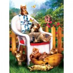 Puzzle  Sunsout-28615 Tom Wood - Mama's Cat Nap