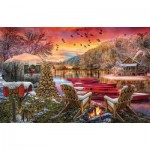 Puzzle  Sunsout-30141 Christmas Eve Camping