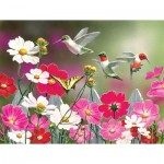 Puzzle  Sunsout-30412 Pièces XXL - Cosmos and Hummingbirds