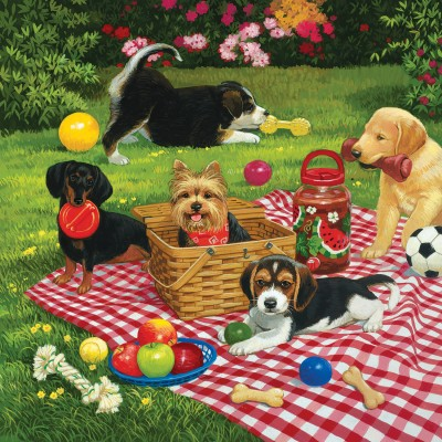 Puzzle Sunsout-30476 William Vanderdasson - Puppies take over