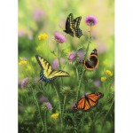 Puzzle  Sunsout-30921 Butterflies & Thistle