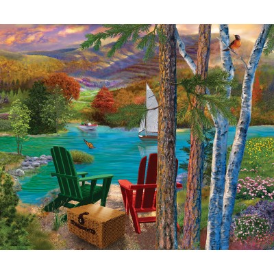 Puzzle Sunsout-31514 Bigelow Illustrations - Lakeside View