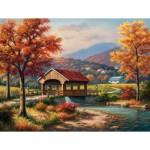 Puzzle  Sunsout-36610 Pièces XXL - Covered Bridge in Fall