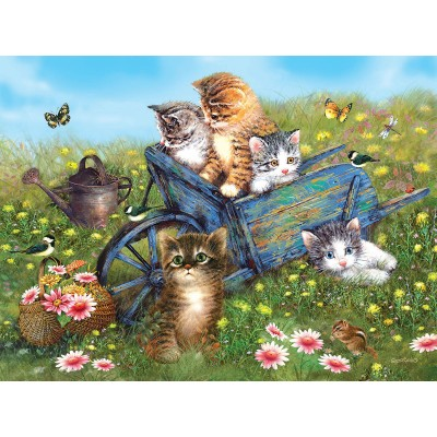 Puzzle Sunsout-37186 Giordano Studios - Kittens on a Field Trip
