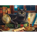 Puzzle  Sunsout-42906 Pièces XXL - Black Cat by Candlelight
