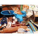 Puzzle  Sunsout-67241 Julie Bauknecht - Kittens in the Kitchen