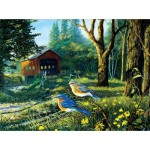 Puzzle  Sunsout-71108 Terry Doughty - Sleepy Hollow Blue Birds