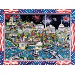 Puzzle  Sunsout-74058 Sharie Hatchett Bohlmann - Fireworks over Washington DC