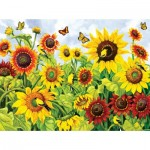 Puzzle   Pièces XXL - Sunflowers and Goldfinch