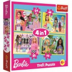 Trefl-34333 4 Puzzles - Barbie