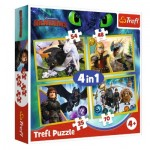 Trefl-34341 4 Puzzles - Dreamworks - Dragons