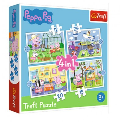 Puzzle Trefl-34359 4 in 1 - Holiday reccolection - Peppa Pig
