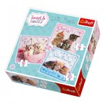 Trefl-34809 3 Puzzles - Chatons très Tendres