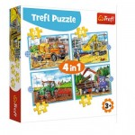 Puzzle   4 in 1 - Large Construction Machines